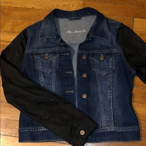 Dark Denim Jacket with Black Sleeves